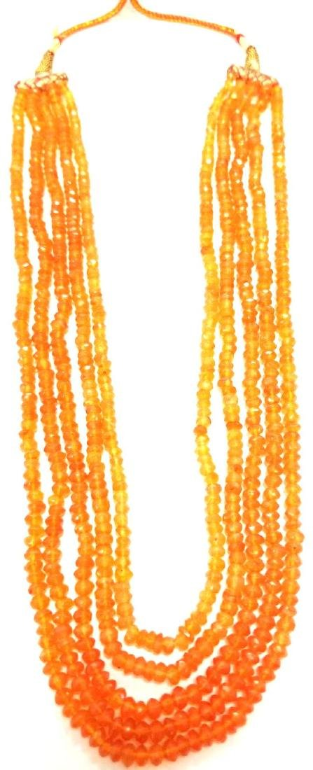 Five Strand Carnelian Bead Necklace. Traditional Tie