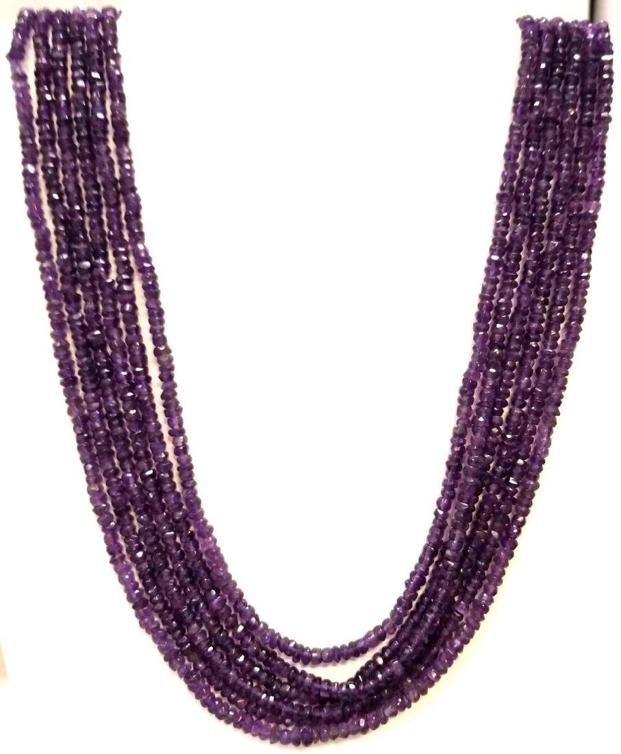 Six Strand Amethyst Bead Necklace. Traditional Tie