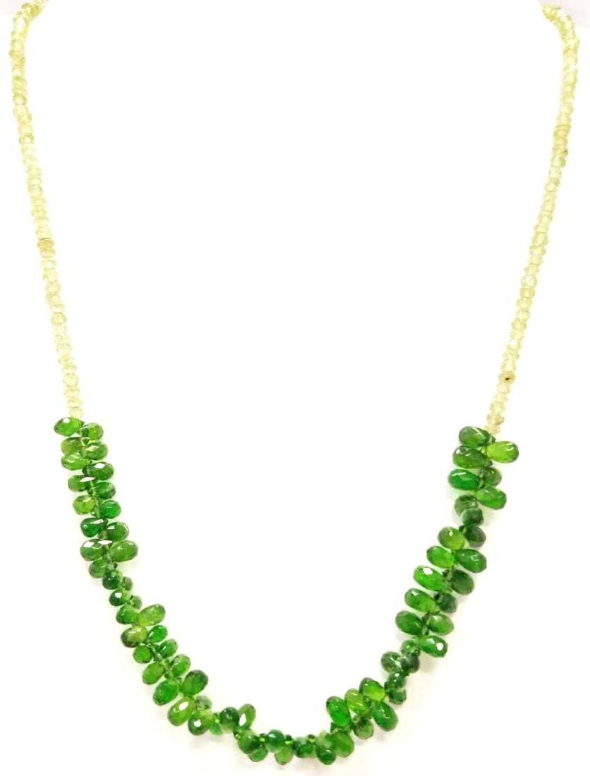 Green Garnet & Peridot Bead Necklace. Diamond Cut