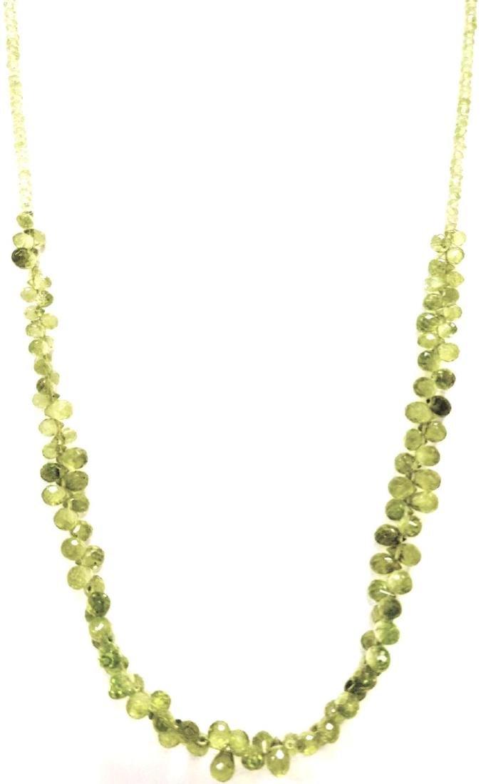 Natural Peridot bead Necklace. Diamond Cut And Briole
