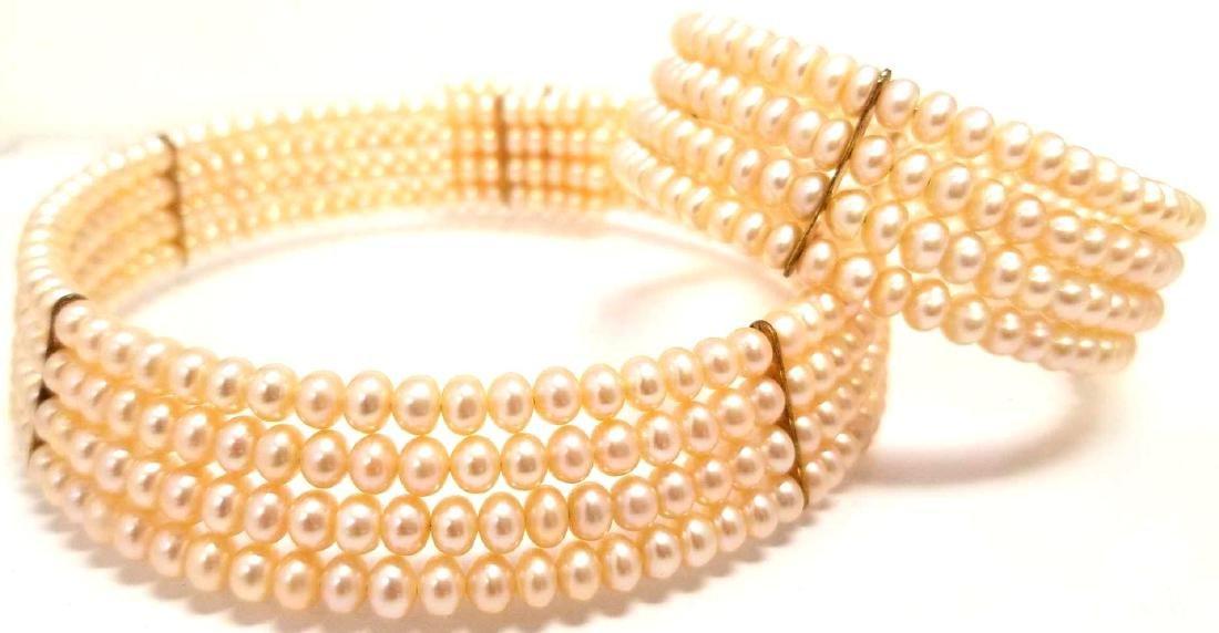 Pink Freshwater Pearl Choker And Bracelet Set.