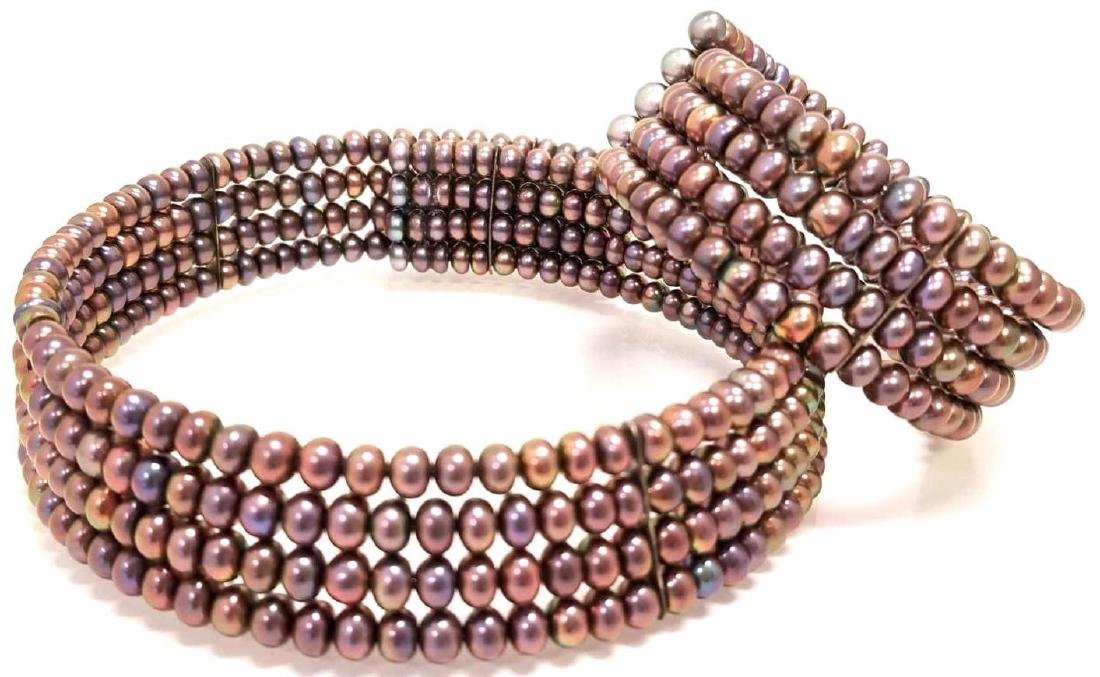Black Freshwater Pearl Choker And Bracelet Set.