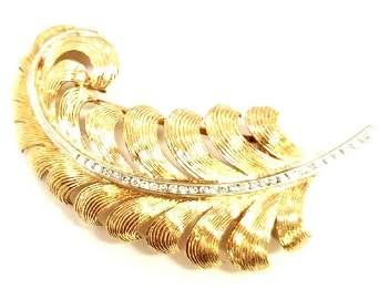 Tiffany & Co. 14K & Platinum Diamond Feather Pin
