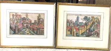 Two 15th Century German Hand Tinted Woodblock Prints