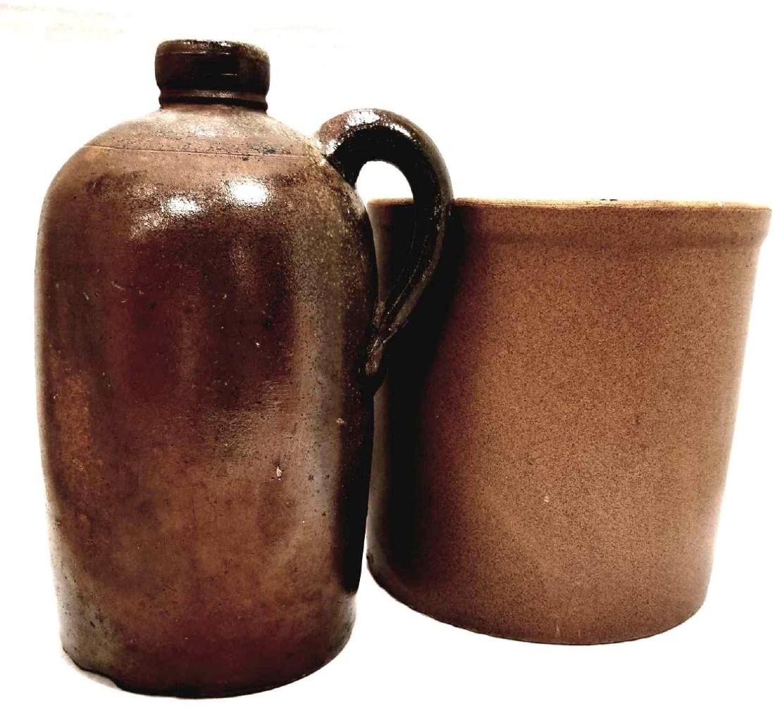 Two Brown Stoneware Pieces