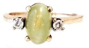 14k Yellow Gold Cats Eye Diamond Ring