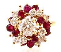 18K Yellow Gold Ruby & Diamond Swirl Ring