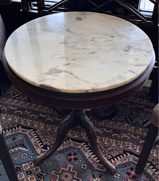 Antique Round Tea Table With Marble Top From Greece