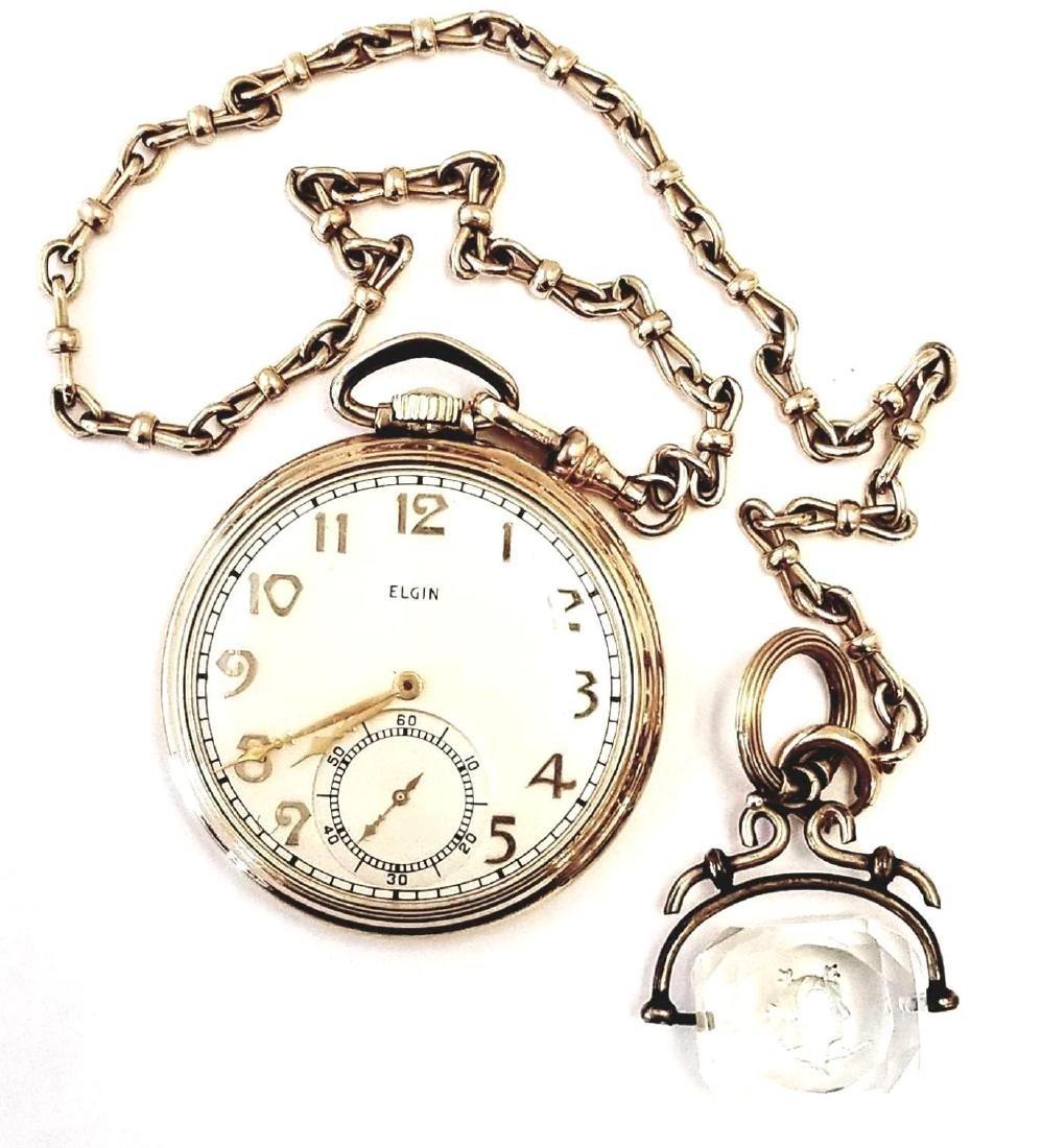 Antique 10K Yellow Gold Elgin Pocket Watch