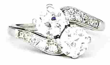 Vintage Platinum Diamond Twin-Stone Ring