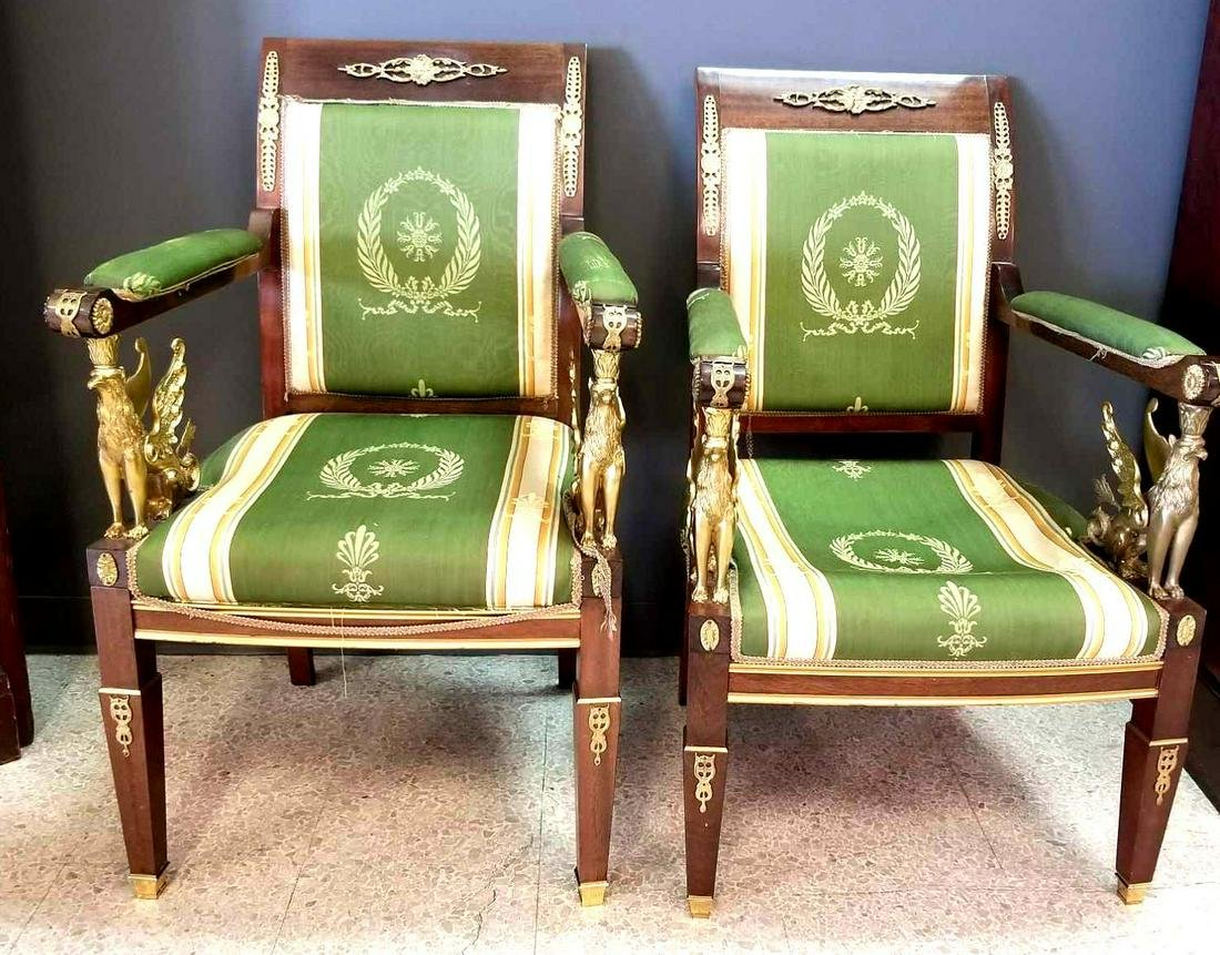 Pair of French Empire Arm Chairs
