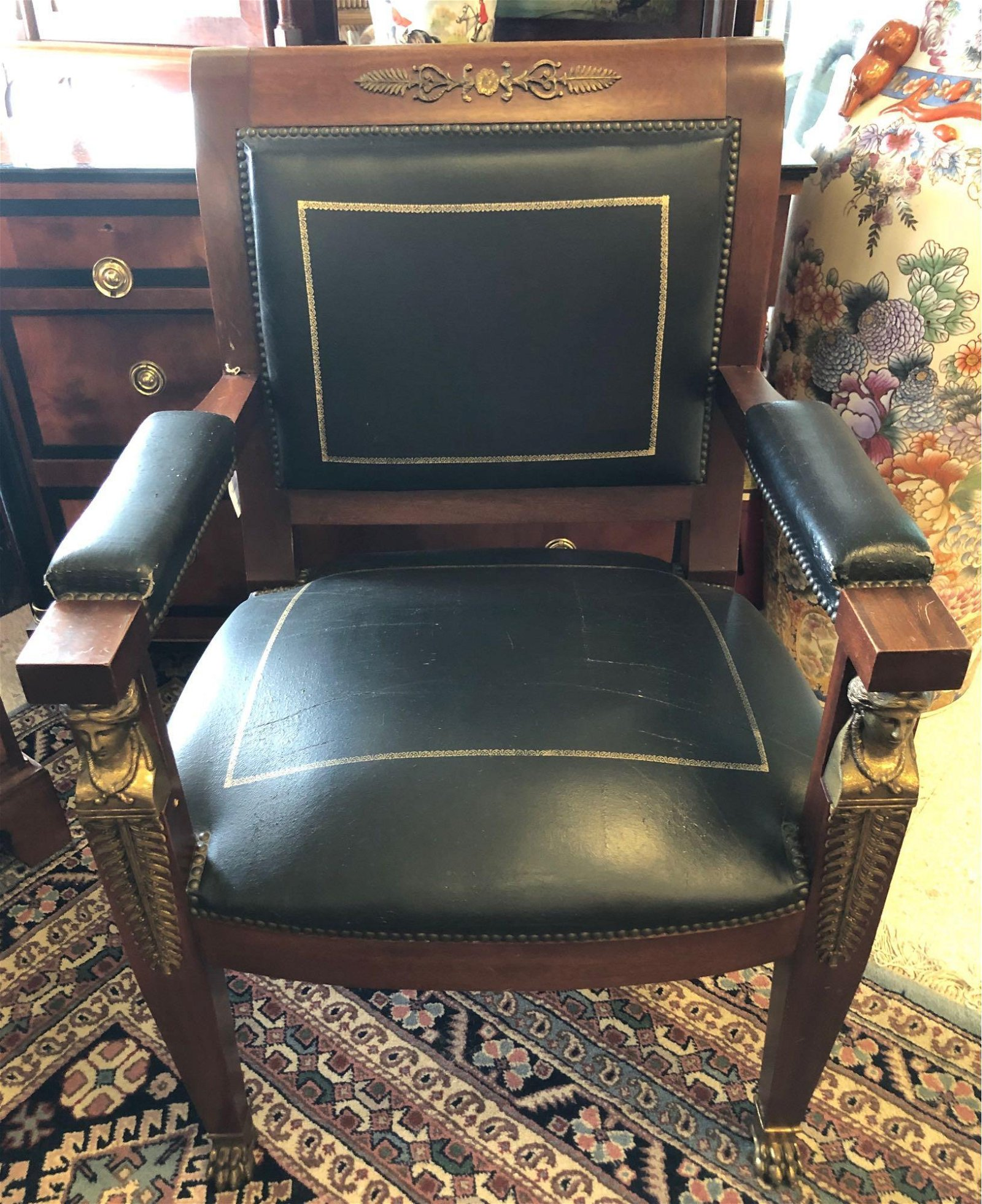 French Empire Style Mahogany Arm Chair
