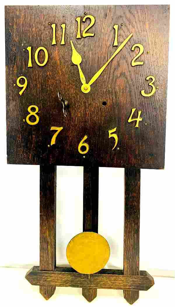 Antique E Ingraham Wall Clock With Pendulum