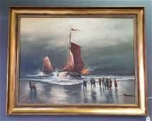 20th Century Seascape Oil On Canvas