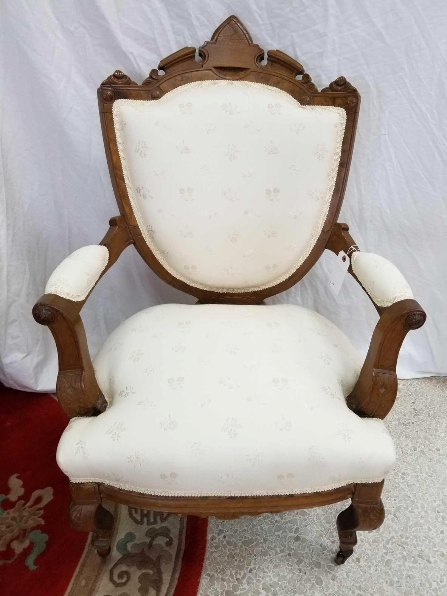 Heavily Carved Antique Victorian Arm Chair