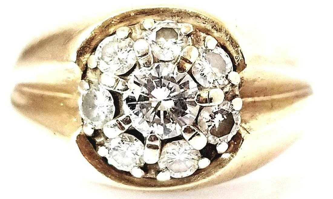 Vintage 14k Gold Diamond Dome Ring