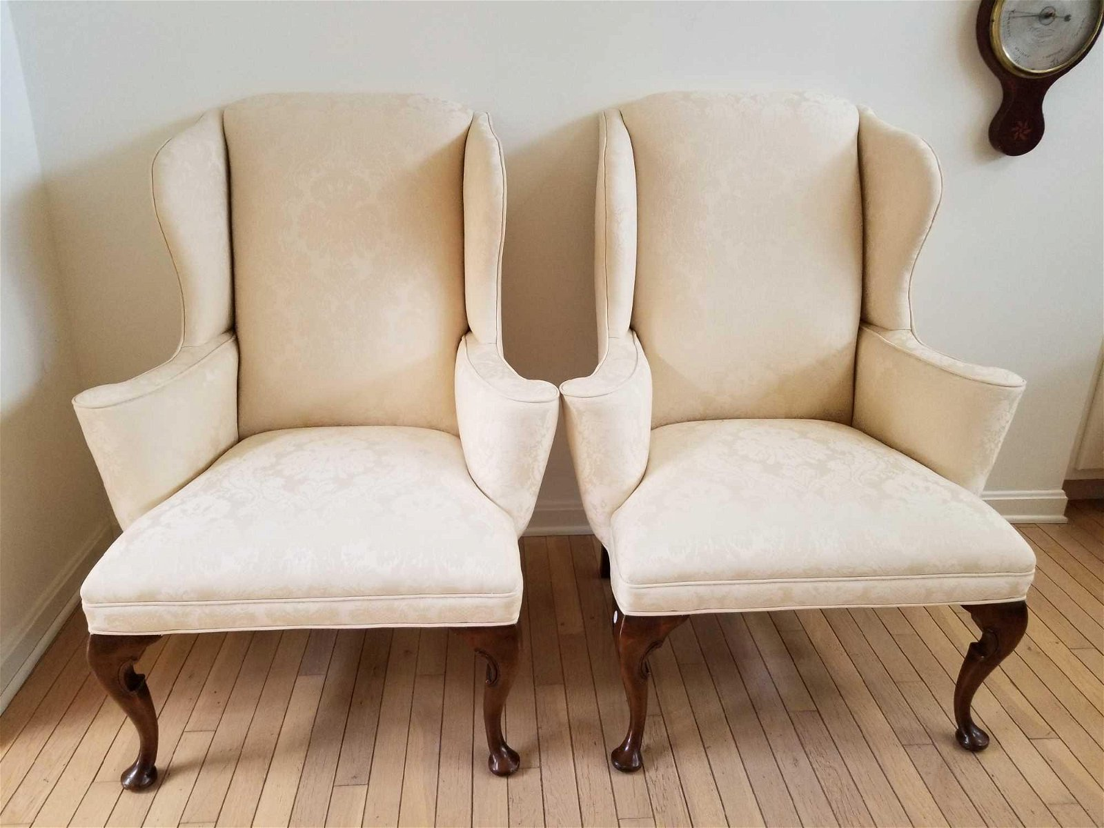 Pair of Antique Upholstered Wing-Back Armchairs