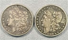 Two 1900-O/CC Morgan Silver Dollars
