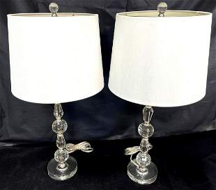 Pair Mid-Century Lucite Stacking Table Lamps