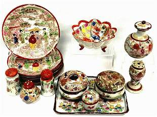 17 Pieces Of Vintage Hand Painted Geisha Girl China