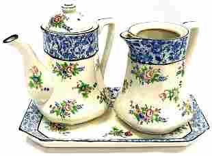 Vintage Asian Porcelain Teapot, Creamer & Tray