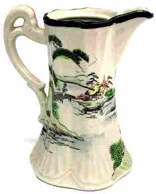 Vintage Hand Painted Asian Pitcher