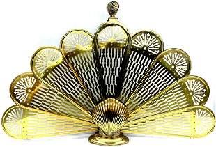 Vintage Brass Folding Shell Fireplace Screen