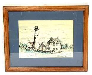 Pen Drawing Drawing Of Fenwick Island Lighthouse By