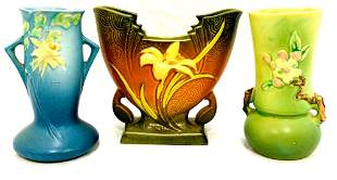 Three Piece Collection Of Roseville Pottery