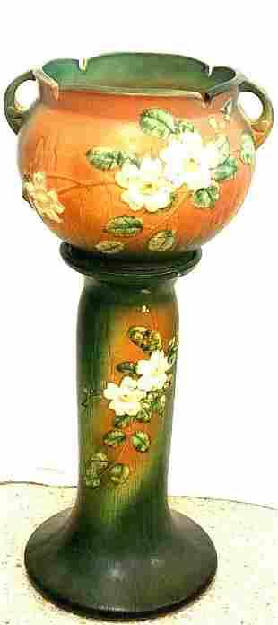 "Antique Roseville Pottery ""Textured Dogwood"" Jardiniere"