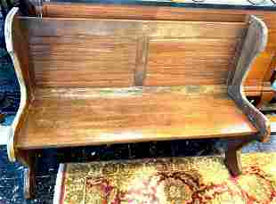 Mid 20th Century Antique Settle Bench/Pew Tavern Hall