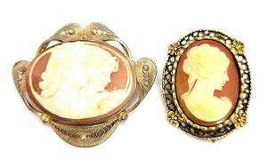 Two (2) Antique Victorian Cameo Brooches