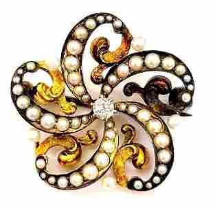 Edwardian 14k Dia & Seed Pearl Flower Brooch