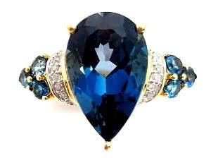 10k London Blue Topaz & Diamond Ring