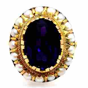 Vintage 14k Amethyst & Seed Pearl Ring