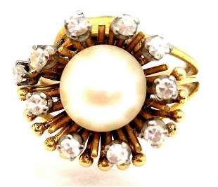 Vintage 14k Pearl & Diamond Ring