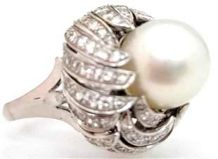Platinum South Sea Cultured Pearl & Diamond Ring