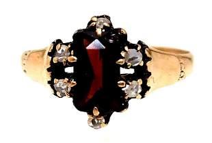 Vintage 10k Garnet & Rose Cut Diamond Ring