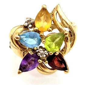 14k Gold Multi-Gem Stone 7 Diamond Ring