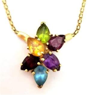 14k Gold Multi-Gem Stone Necklace