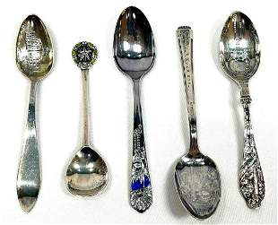 Six Sterling & Silver Plated Collector Spoons
