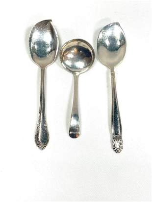 Three Silver Plated Small Serving Spoons