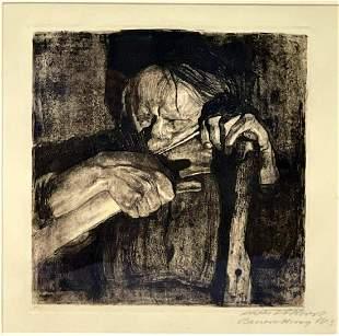 Voice of Death by Kathe Kollwitz (1867-1945) Etching