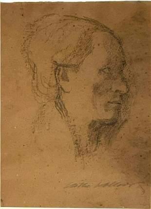 Head by Kathe Kollwitz (1867-1945)Charcoal/Conte Crayon
