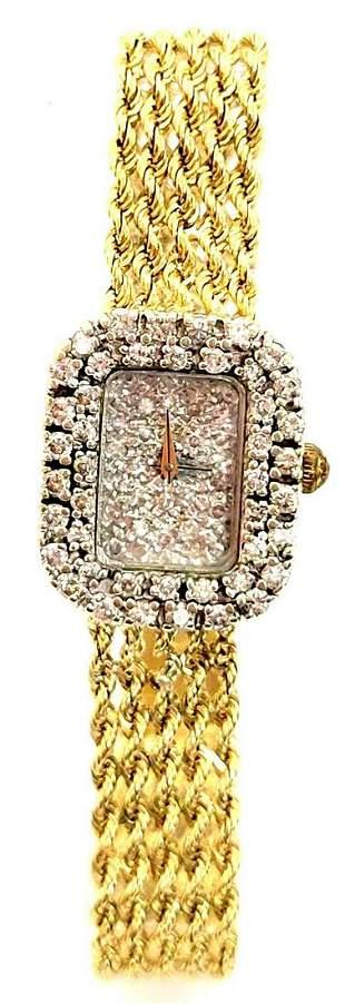 Vintage 14k Gold Diamond Ladies Wrist Watch