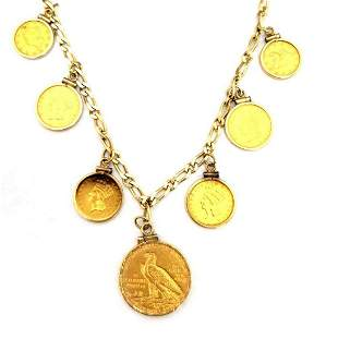 14k United States Gold Coin Multi-Coin Necklace