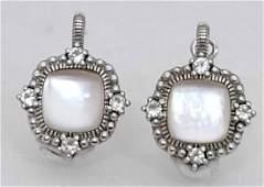Judith Ripka Sterling & 18k Moonstone Dia Earrings