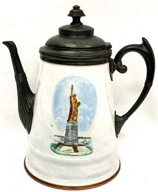 Vintage Pewter & Enamelware Coffee Pot