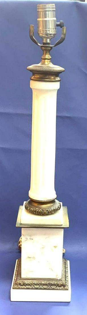 1950s Mid Century Style Ceramic Marble Base Table Lamp