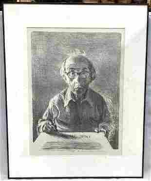 Self-Portrait by Raphael Soyer (1899-1987) Artist Proof
